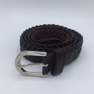 Other - Genuine leather braided belt with silver buckle